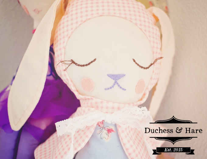 Close up of Duchess and Hare Doll.