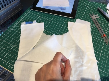 5 Bodice lining on top of cap sleeves