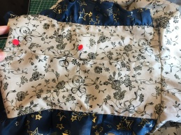 6 Pin bodice closed to ensure straight join