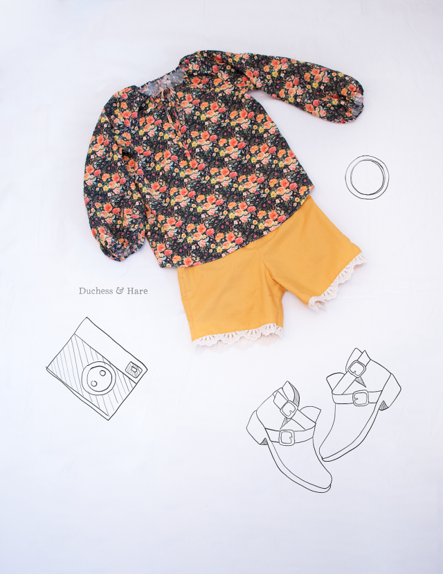 flatlaypeasantshortsDuchess and Hare peasant top and Heat Wave in September Blooms by Hawthorne Supply CO