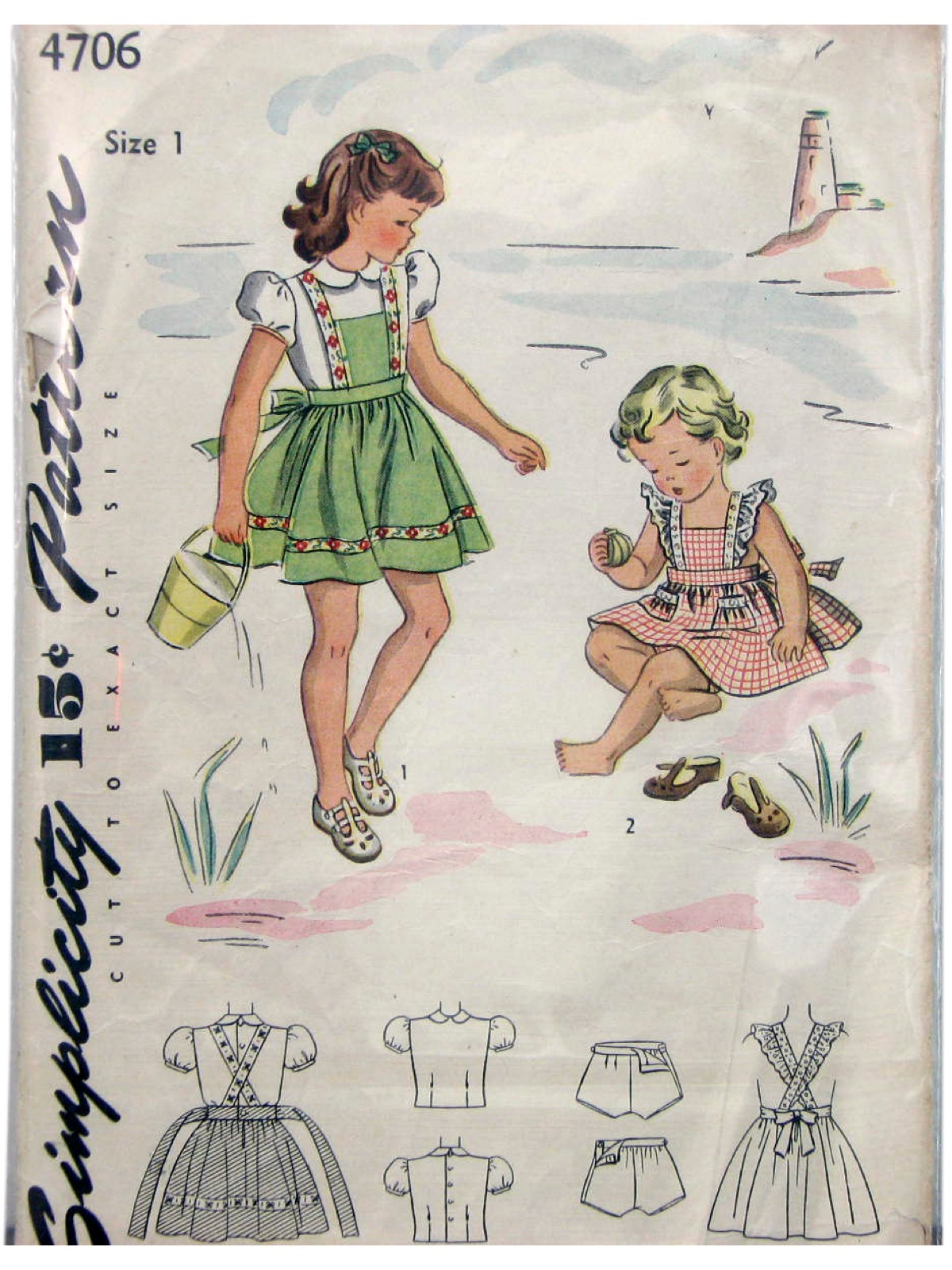 Vintage Simplicity pattern 4706.  Green or red plaid pinafore with shorts and blouse.
