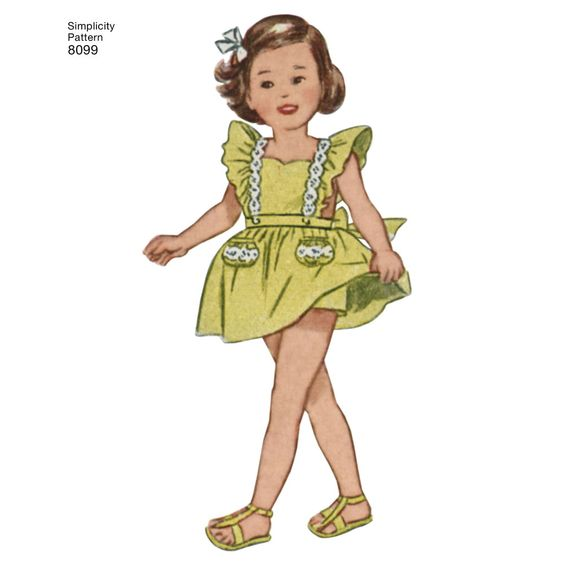 Vintage simplicity pattern 8099.  Yellow Pinafore with sweetheart neckline.