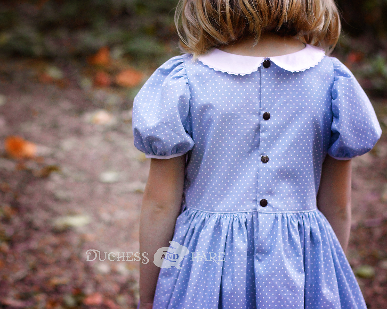 Back of little girl wearing a blue dress with small white polkadots.  The dress has short puff sleeves and a white collar with lace trim.