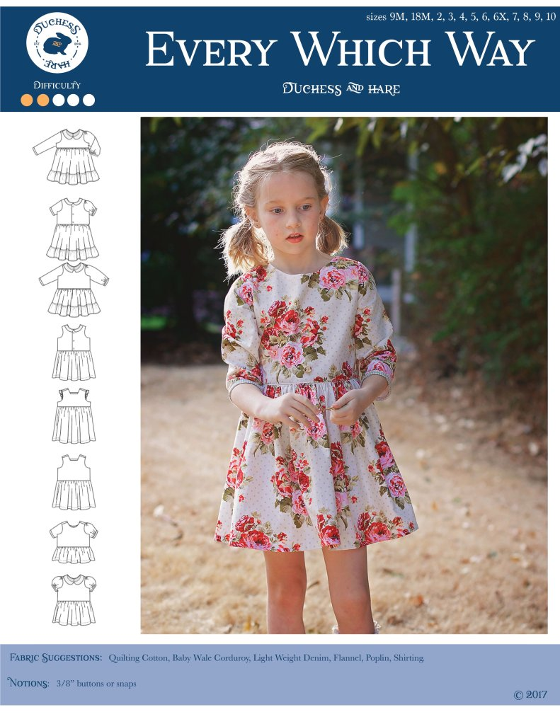 Sewing Pattern Cover with picture of little girl in vintage long sleeve dress and line drawings of 8 different dresses.  Every Which Way Dress pattern.